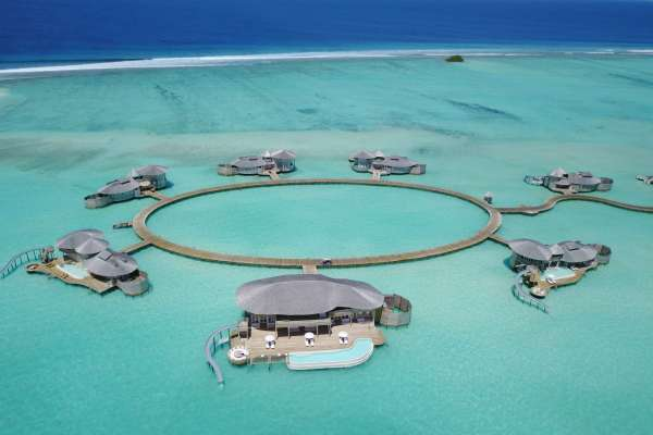 View on the Water Reserves, which are built on stilts directly into the Indian Ocean, of Soneva Jani Maledives