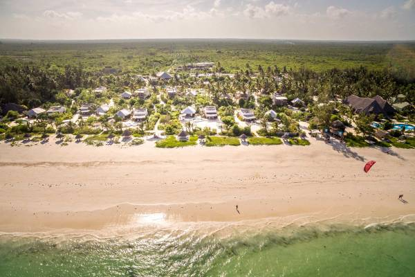 Birds-eye view on the property of Zanzibar White Sand Luxury Villas in Tanzania, located directly at the white sand beach