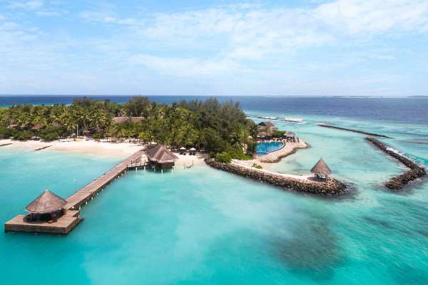 Birds eye view on the property of Taj Coral Reef & Spa, located on the island of Hembadhu