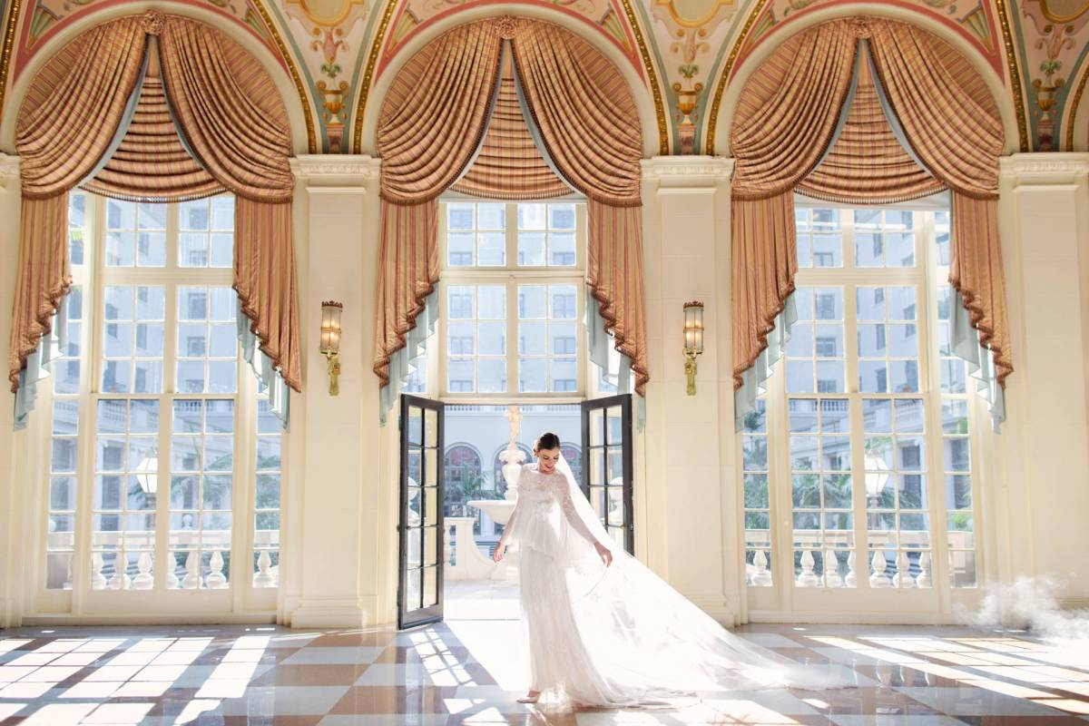 View on a bride in the mediterranean ballroom of The Breakers hotel