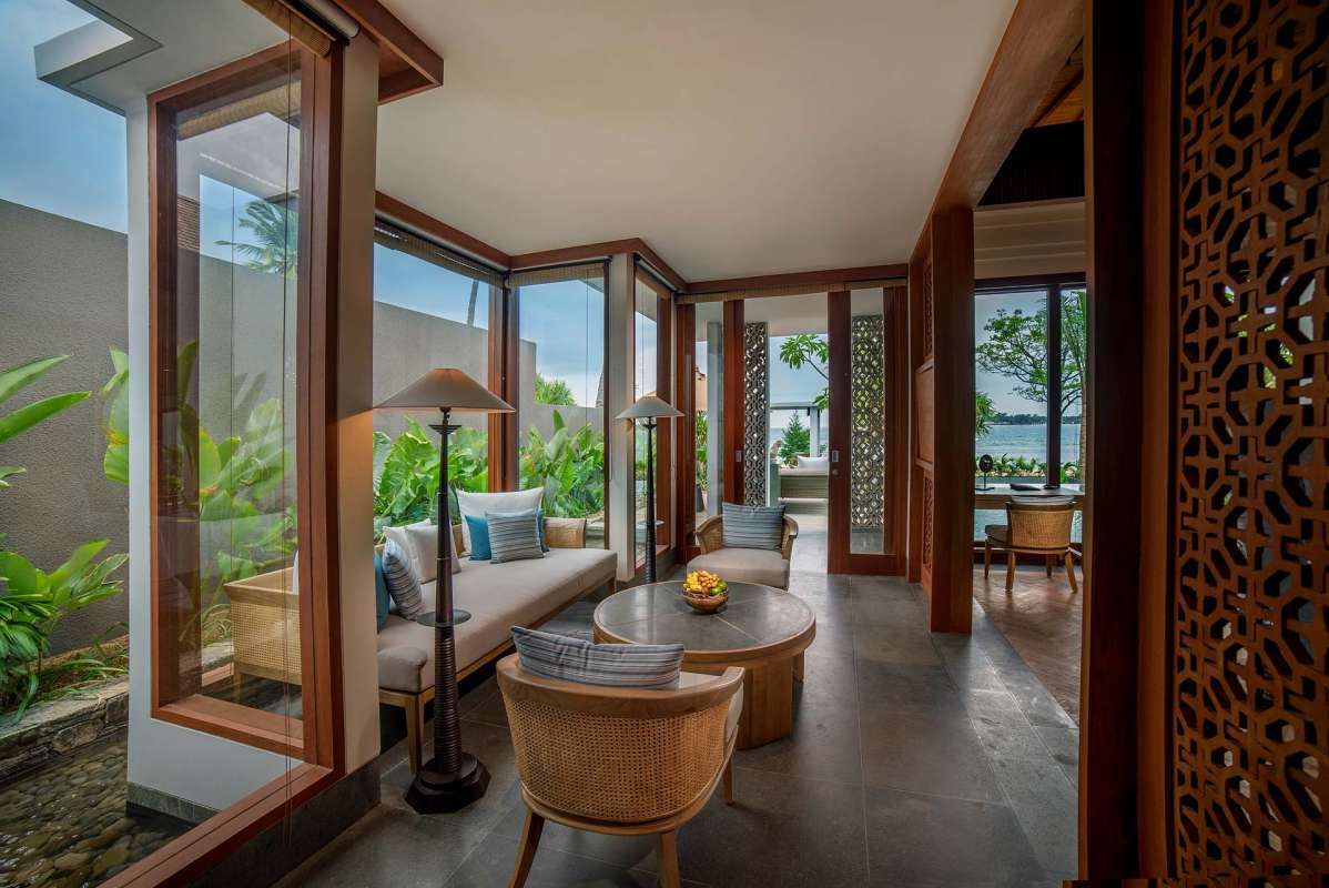 View into the living room of a Beachfront Villa