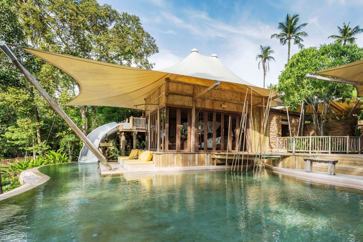 View on the exterior with a big pool of a Pool Retreat at Soneva Kiri