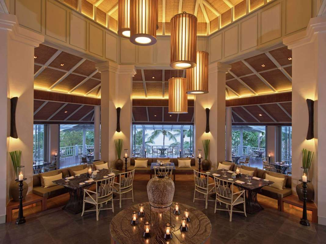 View on the fancy interior of the restaurant at Amatara Phuket