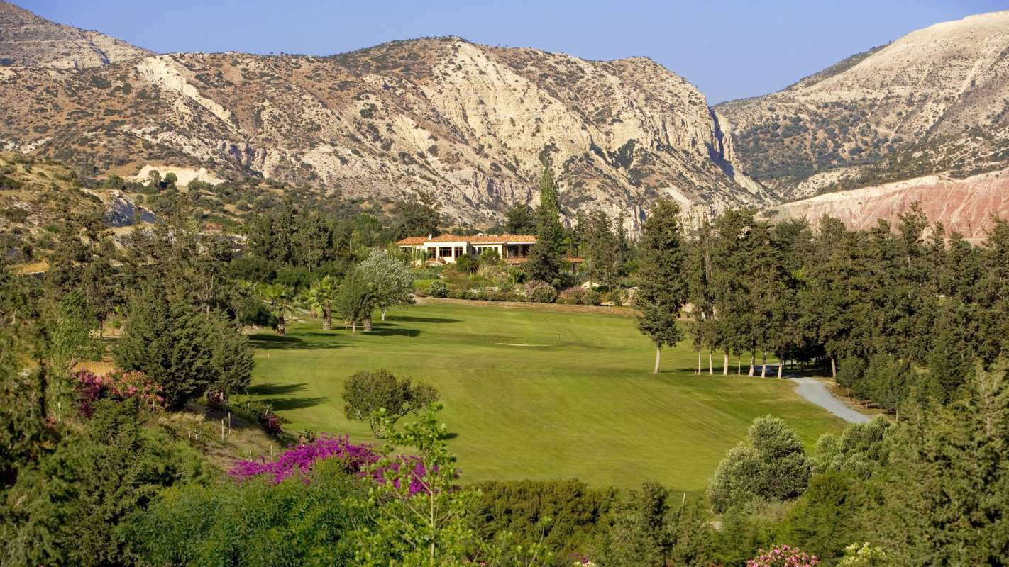 Almyra Golf Court in front of Mountain Range