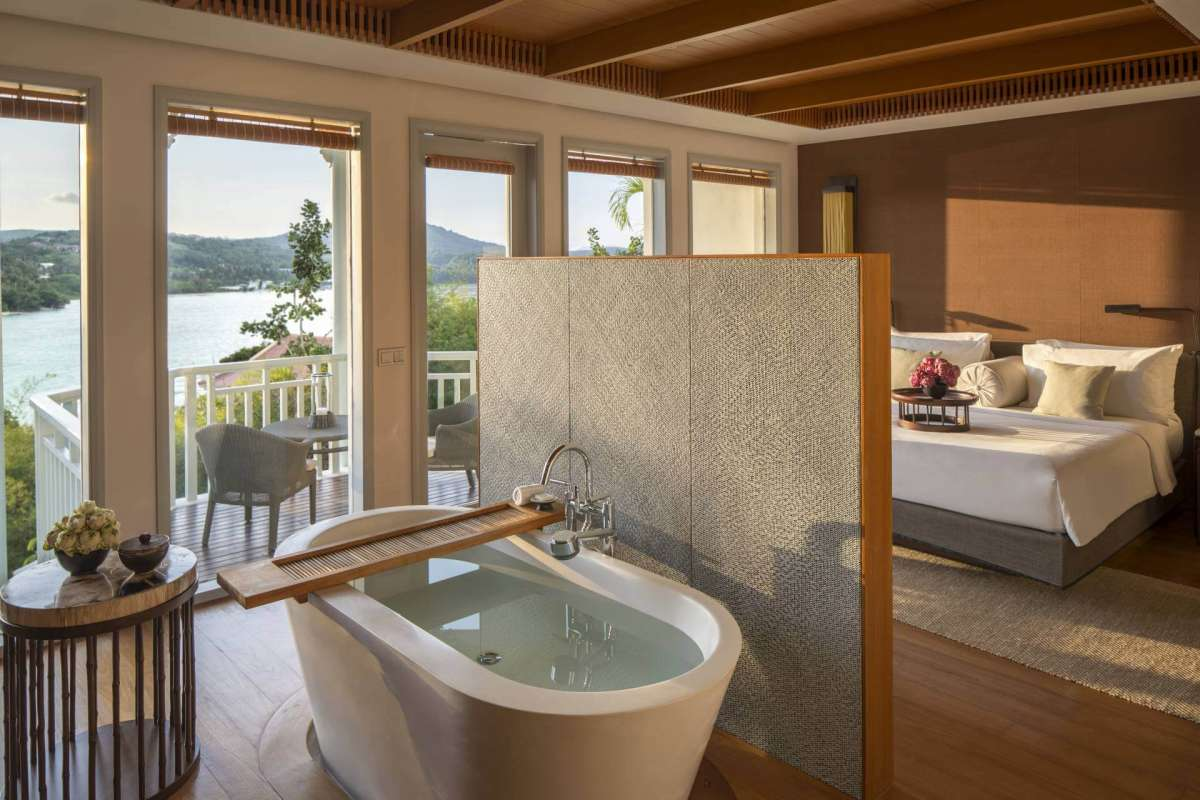 View on the freestanding tub in one of the rooms at Amatara Phuket