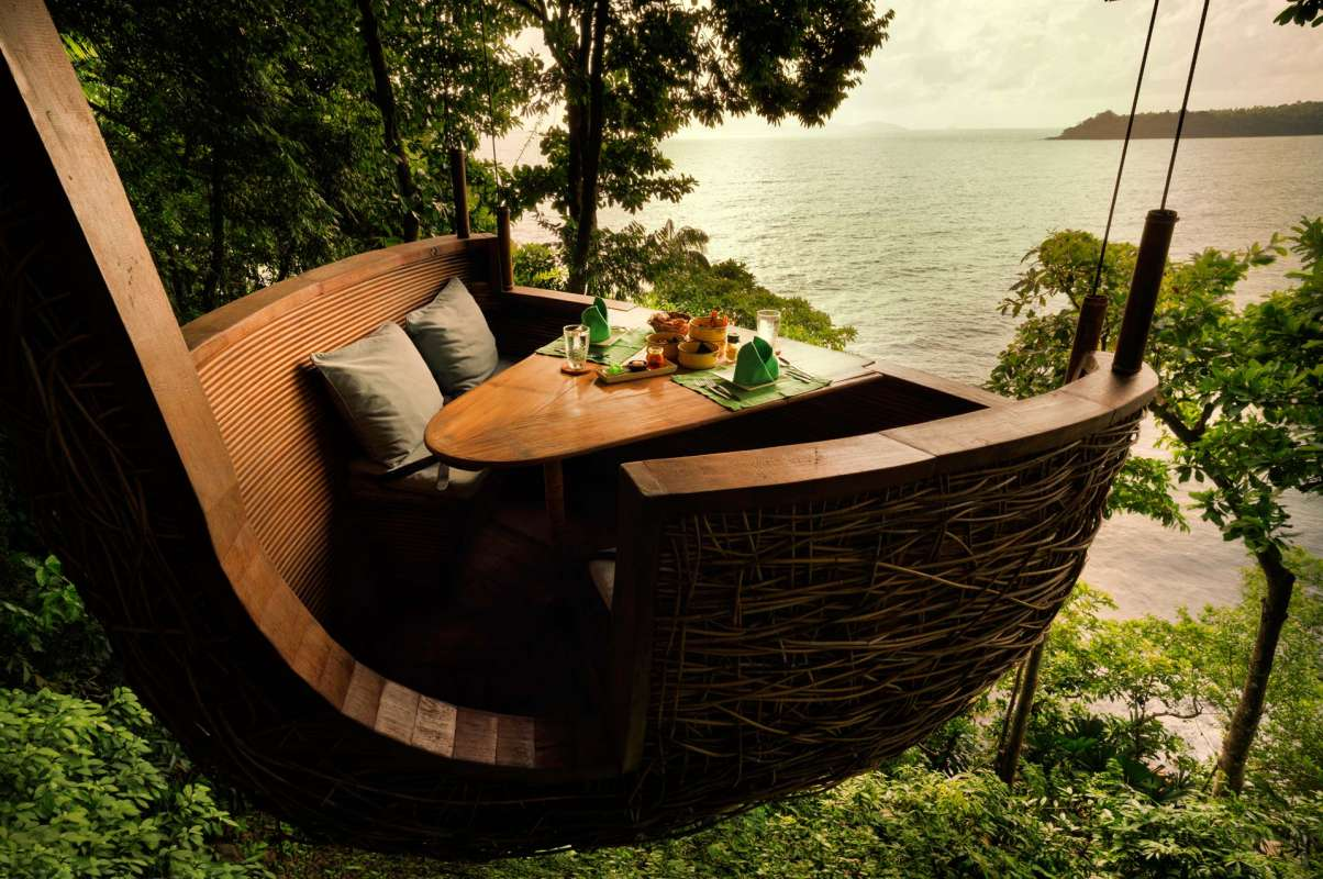 One of the small pods for the Tree Top Dining at Soneva Kiri, which is shaped like a birds nest